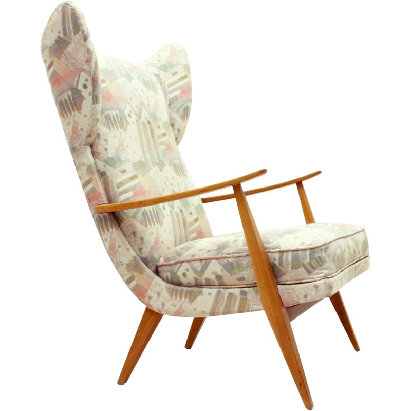 Vintage lounge chair in cherrywood by Walter Knoll for Knoll Antimott - 1950s
