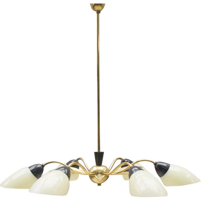 Sputnik ceiling lamp in brass and glass with 6 arms - 1950s