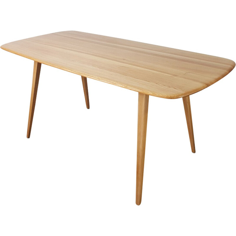 Vintage plank dining table by Ercol - 1960s