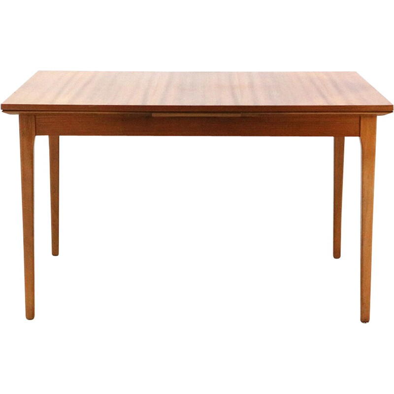Vintage walnut dining table by Luebeke - 1960s