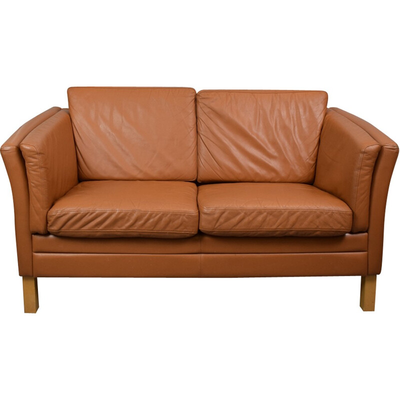 "Vintage Danish ""Stouby"" tan leather 2 seat sofa - 1970s"