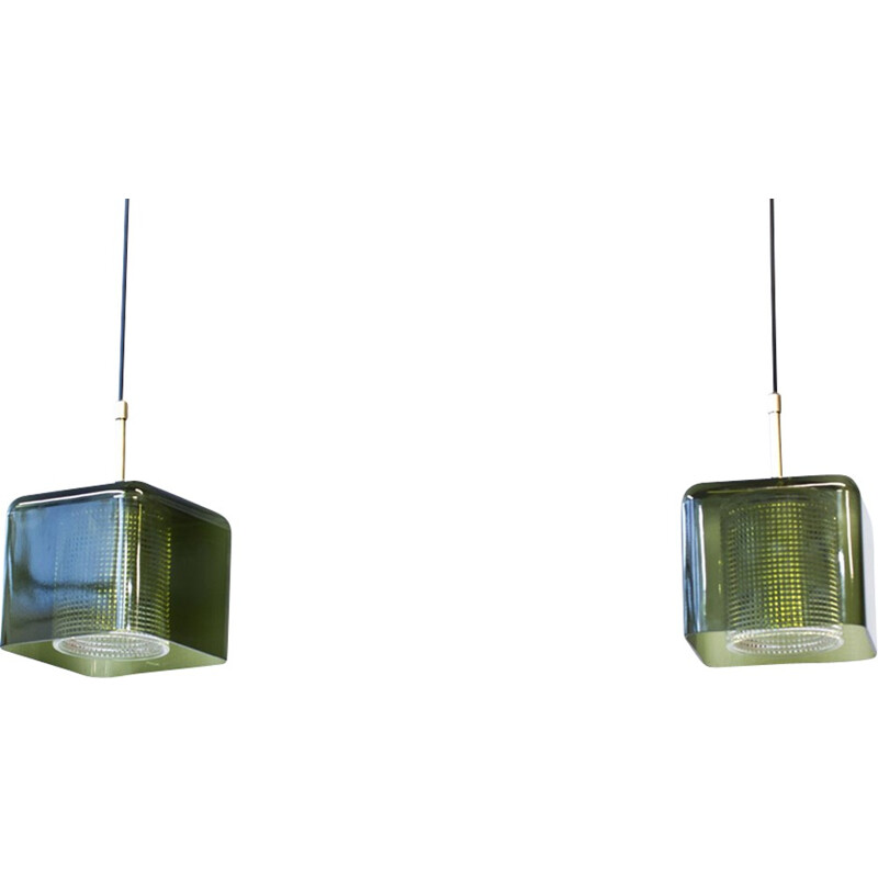 Set of 2 pendant lamps in brass and glass by Carl Fagerlund - 1960s
