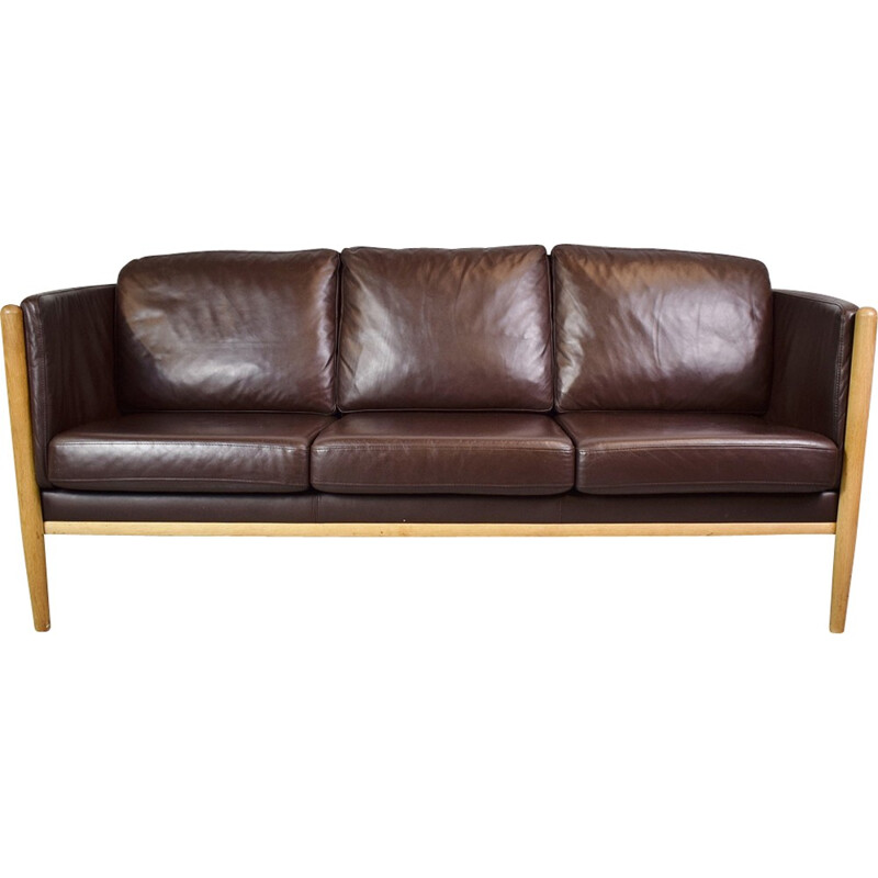 Vintage Danish 3-seater sofa in brown leather - 1970s