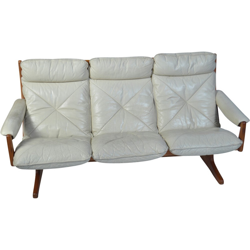 Vintage danish sofa in white leather - 1970s