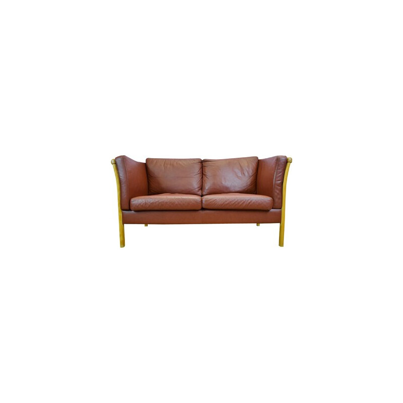 Vintage Danish sofa in brown leather - 1980s
