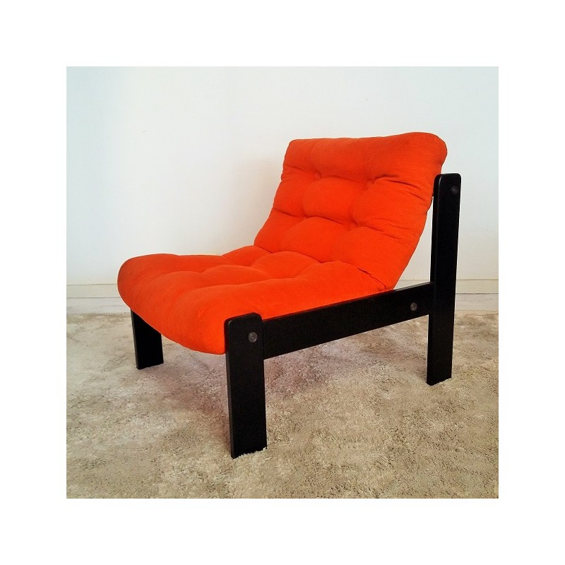 Vintage bright orange armchair - 1960s - Design Market