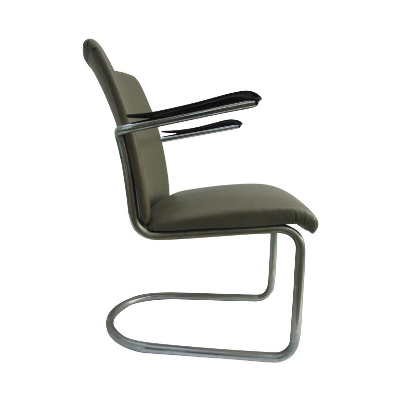 Gispen industrial armchair in leatherette and chrome - 1940