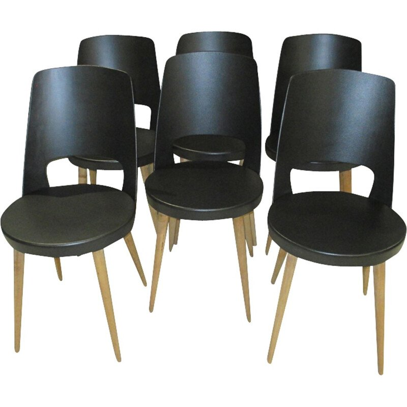 Vintage set of 6 chairs in beech by Mondor for Baumann - 1960s