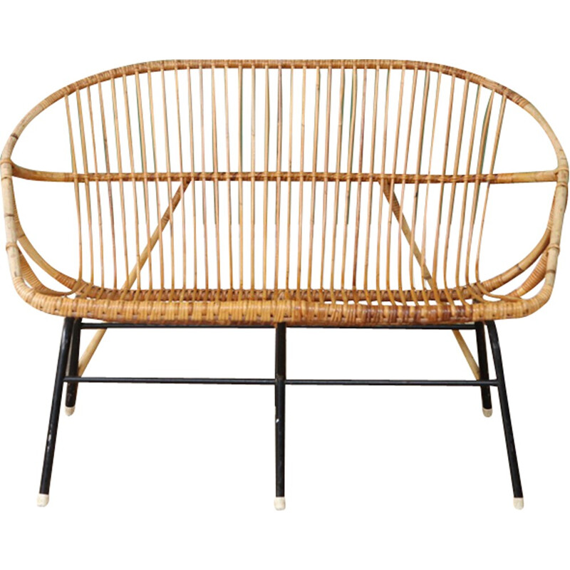 Vintage rattan 2 seater sofa by Rohe Noordwolde - 1960s