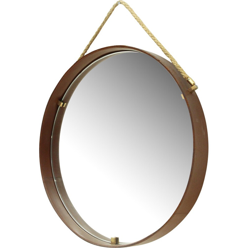 Leather and brass round mirror by Pizzetti - 1950s