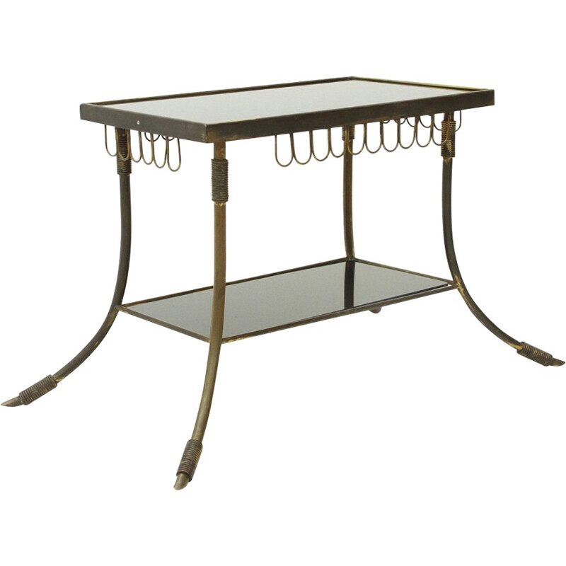 Vintage italian brass and glass coffee table - 1950s