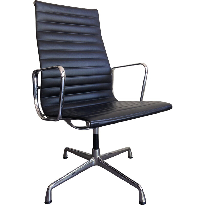 """Vintage black leatherette armchair """"EA112"""" by Eams for Vitra - 2008"""