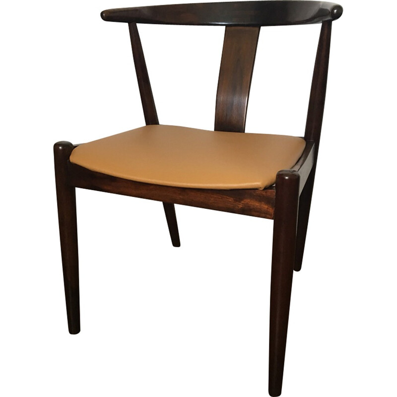 Vintage scandinavian chair in rosewood and leather by Dyrlund - 1960s