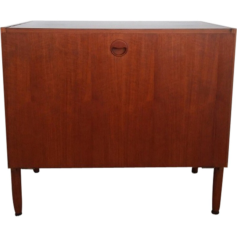 Vintage teak cabinet with black lacquered tray - 1960s