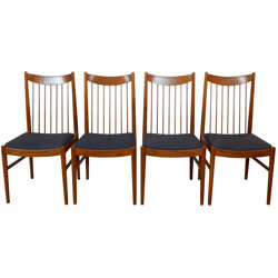 Set of four 422 chairs in teak and grey fabric, Arne VODDER - 1960s