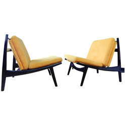 Pair of armchairs in lacquered wood and yellow fabric, Joseph André MOTTE - 1960s