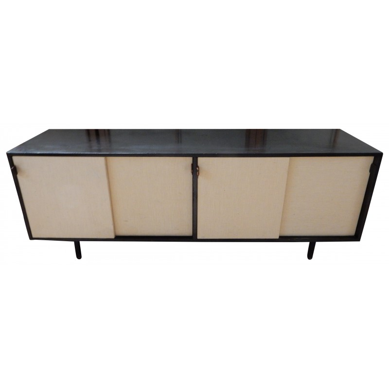 Sideboard In Wood Raphia Leather And Metal Florence Knoll 1960s