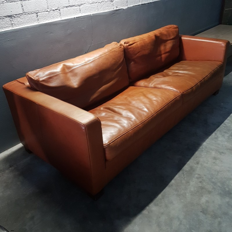 Vintage Cognac Leather 2 Seat Sofa By Molinari 1990s