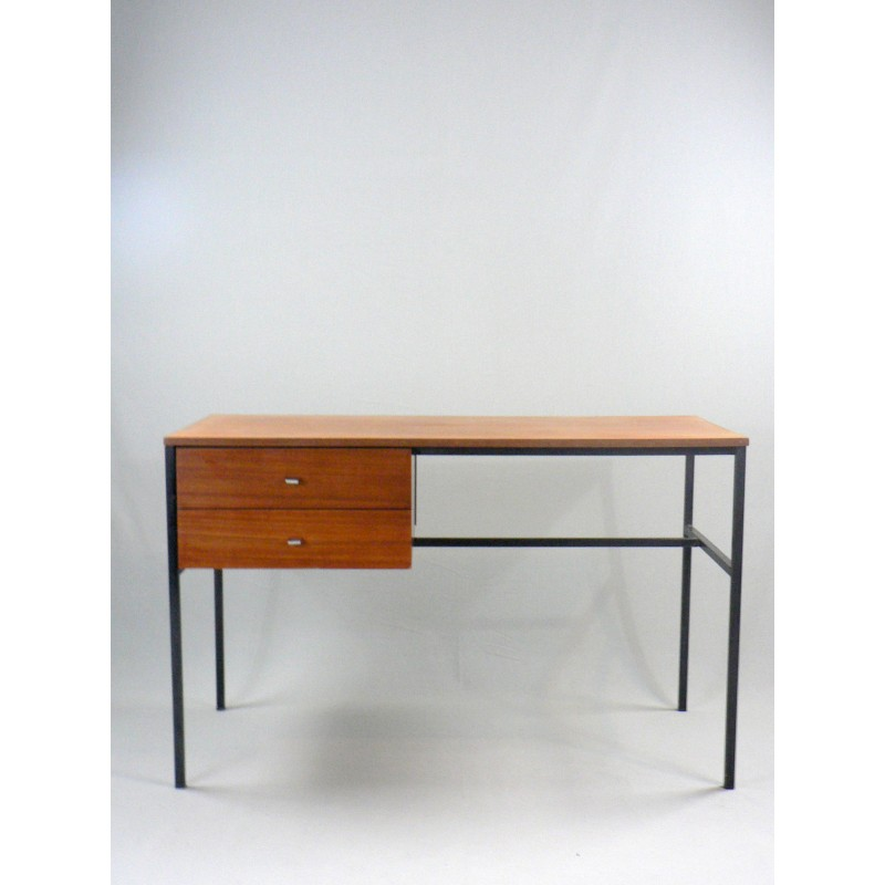 Vintage Student Desk Square Black Lacquered Steel Metal Frame By Pierre Guariche For Meurop 1950s Design Market