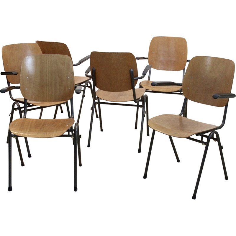 Set of 6 Dutch design industrial chairs - 1960s
