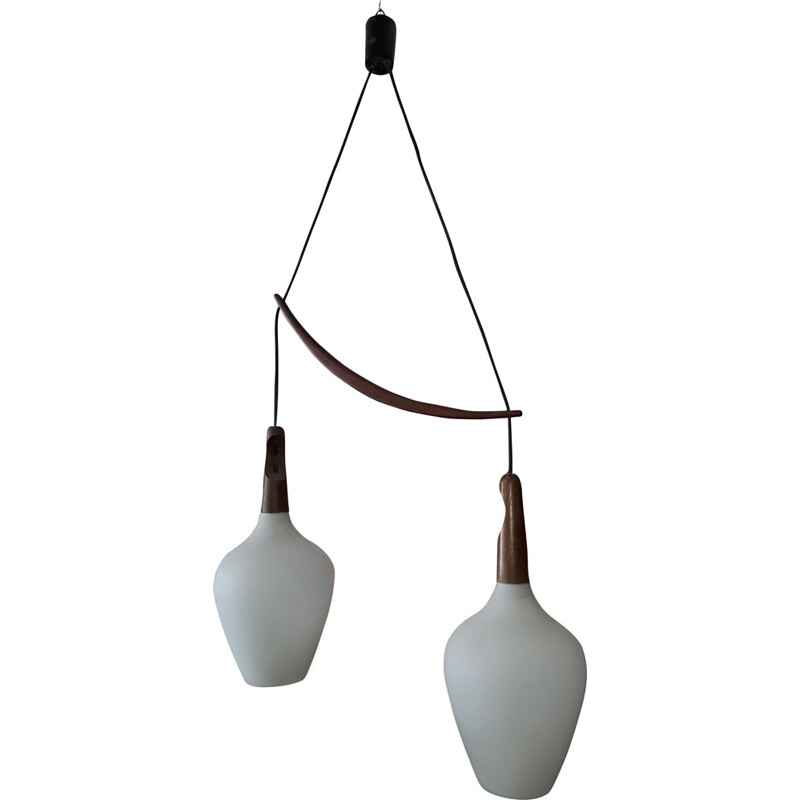 Vintage Swedish pendant lamp in mahogany and opaline glass - 1950s