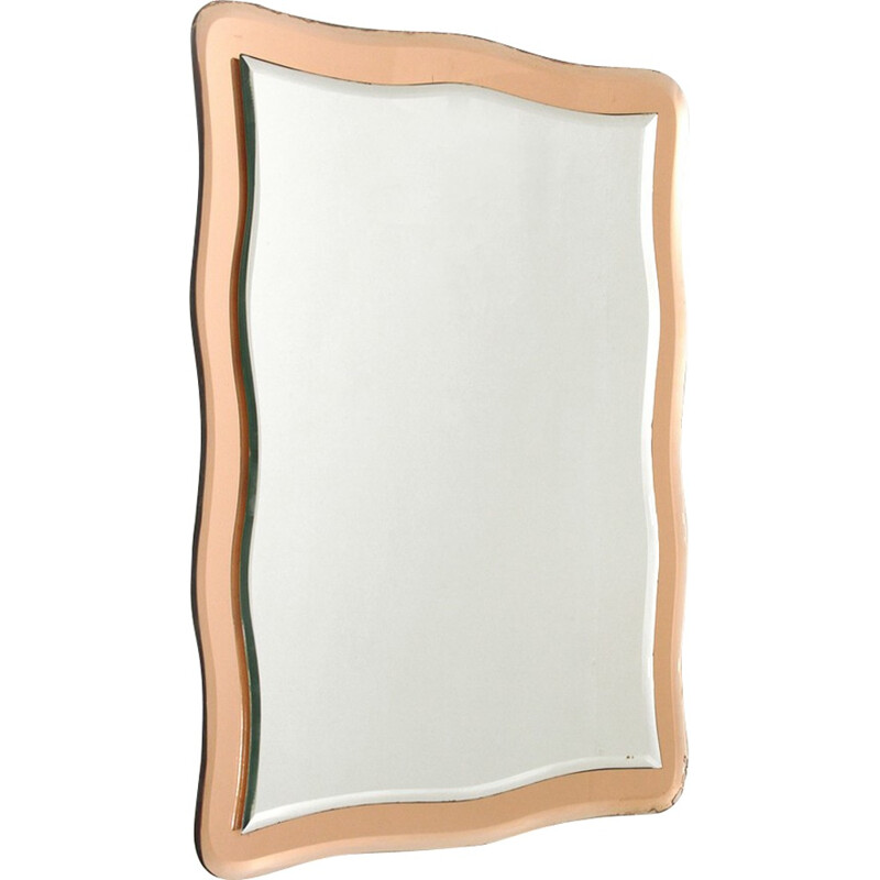 Vintage Italian wall mirror with pink mirror frame - 1970s