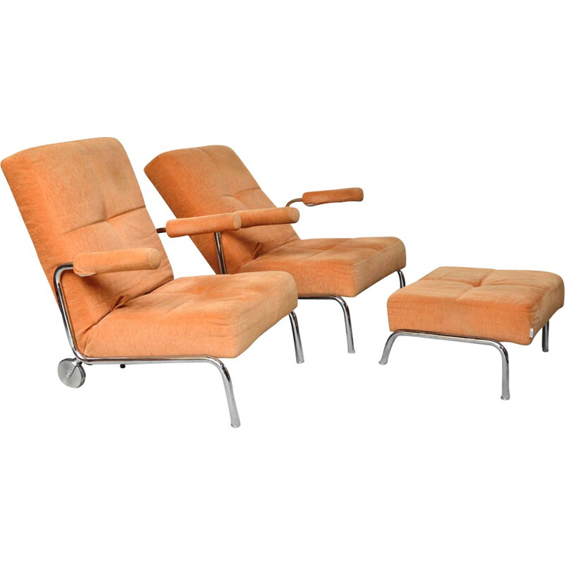 Set of 2 reclining chairs and 1 ottoman by Brühl - 1980s