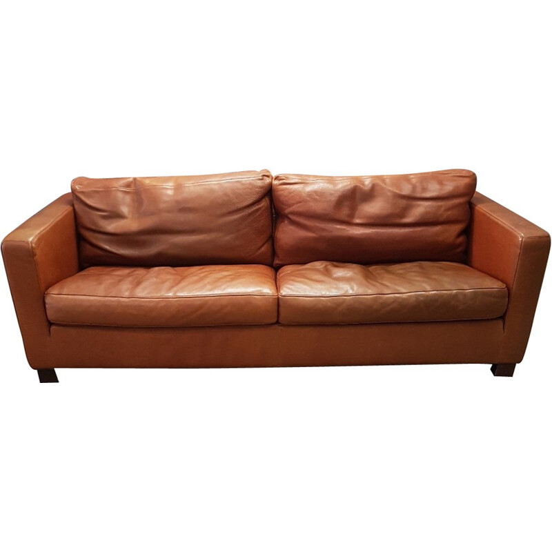 Vintage cognac leather 2 seat sofa by Molinari - 1990s