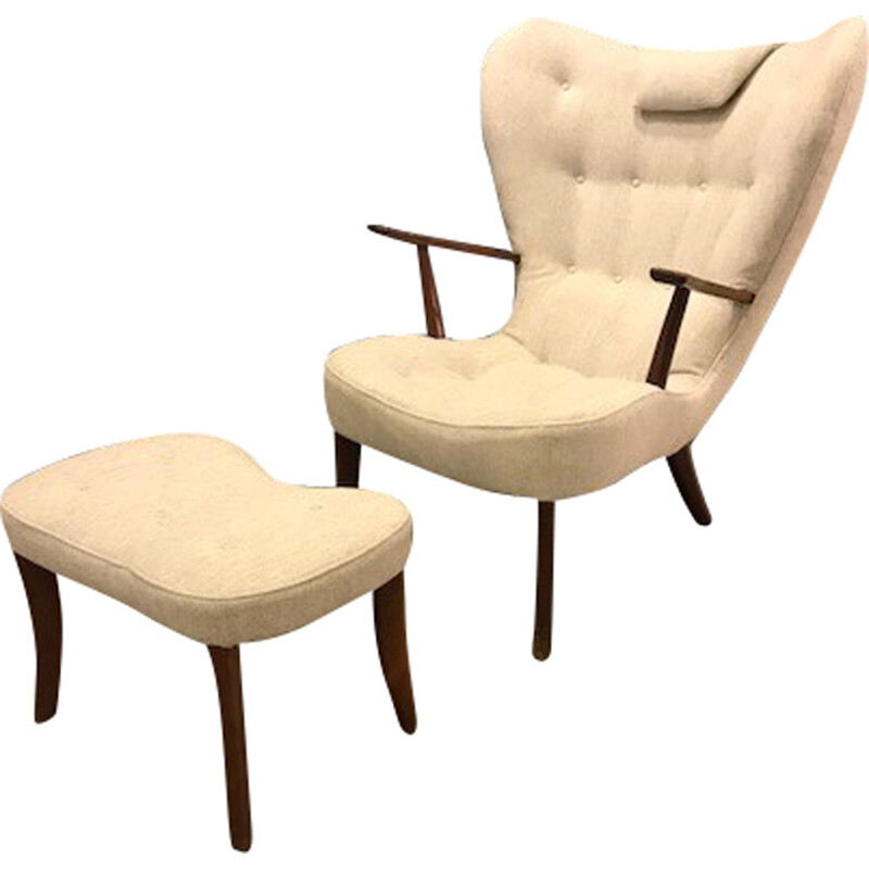 "Vintage ""Pragh"" lounge chair and ottoman by Ib Madsen & Acton Schubel - 1950s"