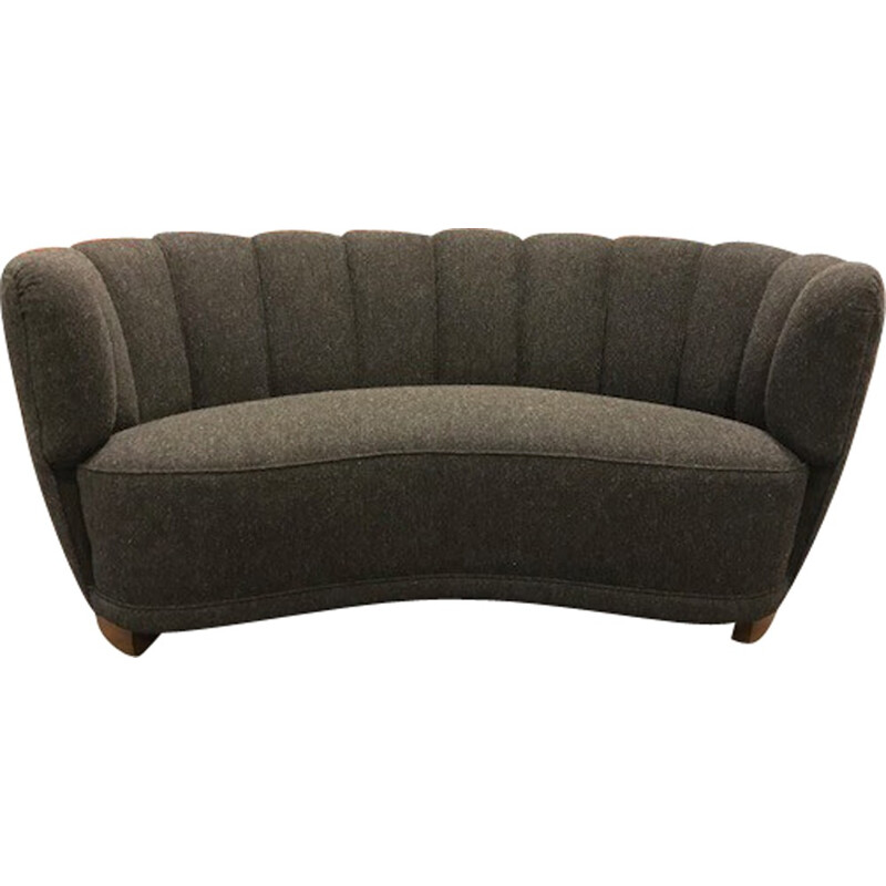 "Vintage Scandinavian 2 seater ""Banana"" sofa in anthracite gray - 1950s"