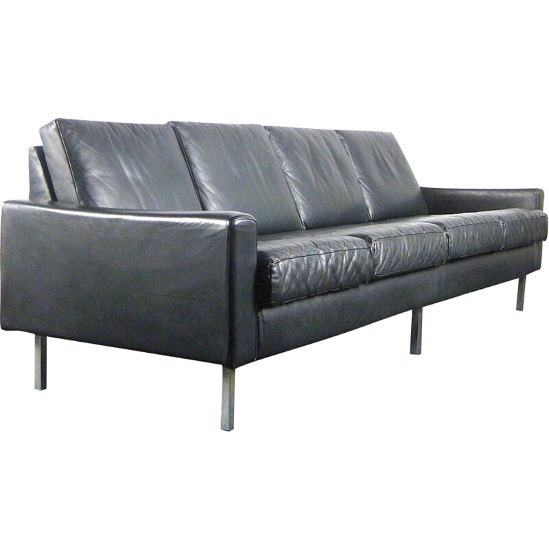 Black 4 seater sofa fully leather and chrome - 1960s