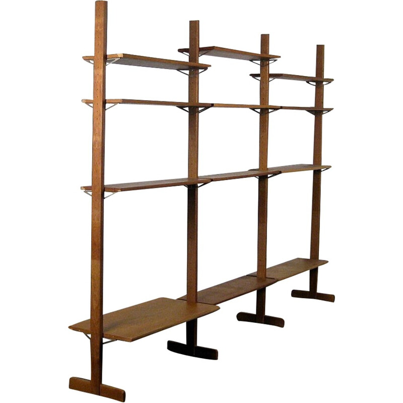 Vintage industrial design modular oak shelf - 1950s