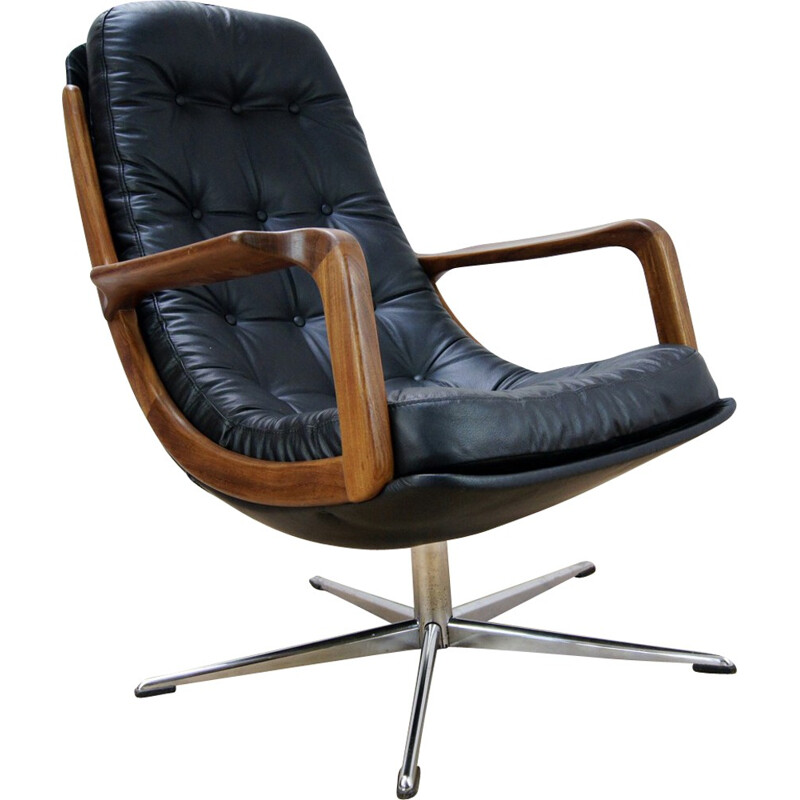 Vintage Leather and Teak Swivel Chair - 1960s
