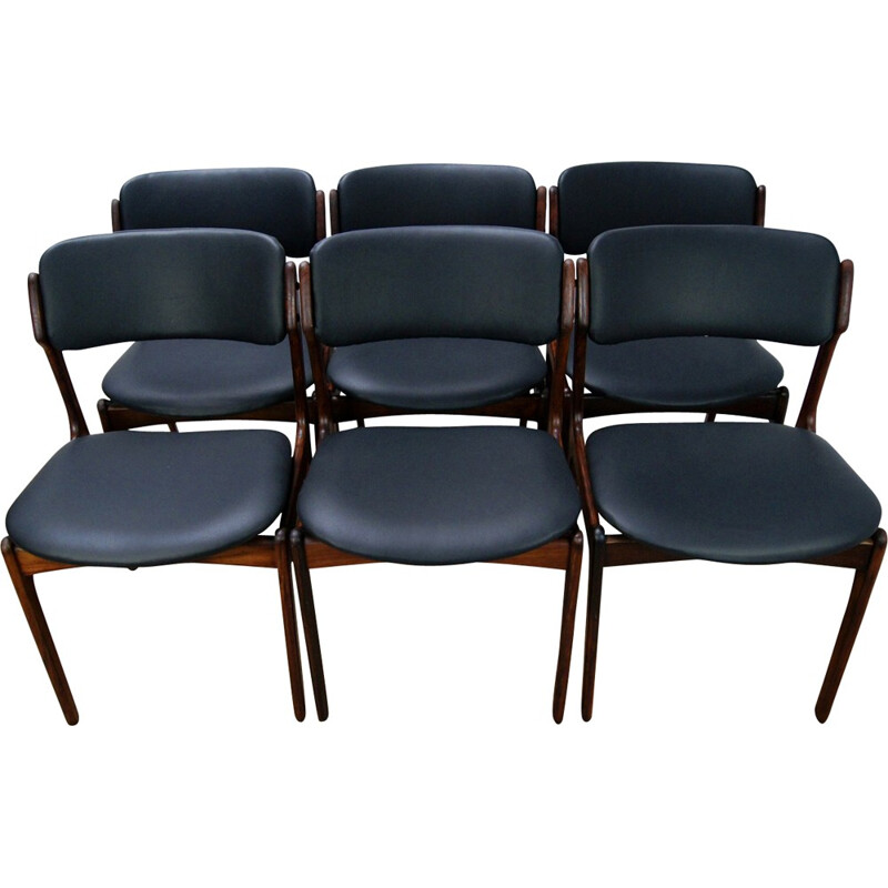 Set of 6 Model 49 Rosewood Dining Chair by Erik Buch for Odense Maskinsnedkeri - 1960s