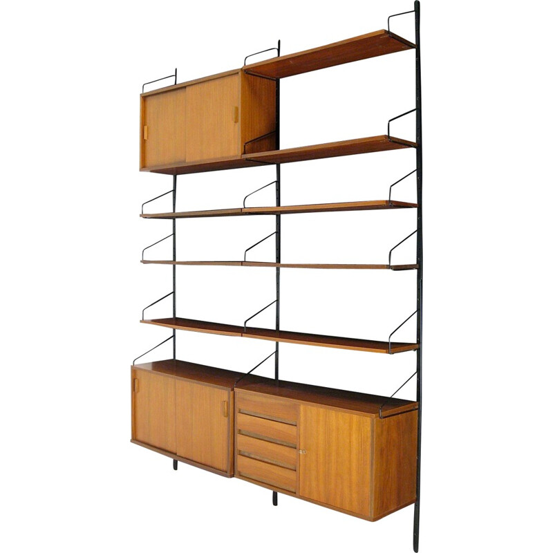Vintage modular teak shelf and metal - 1950s