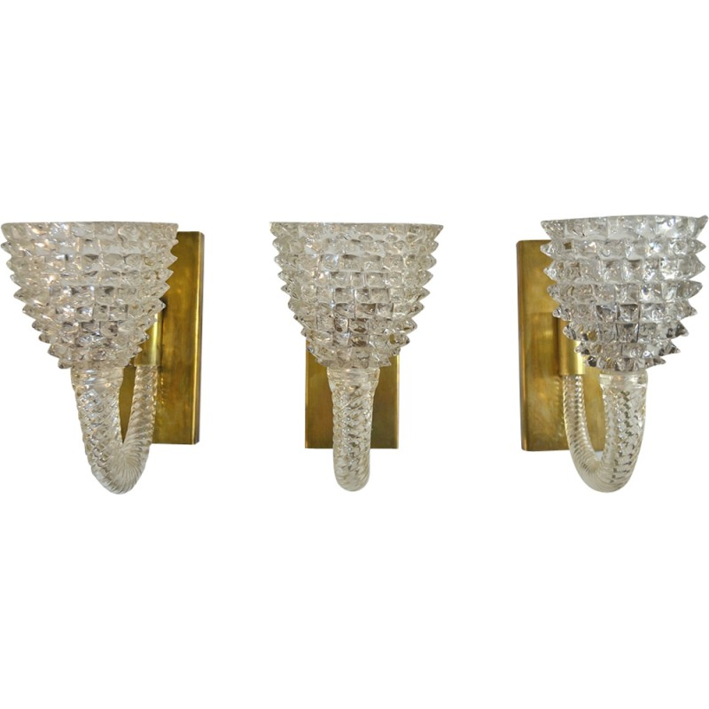 Set of 3 vintage wall sconces by Barovier e Toso Murano - 1940s ...