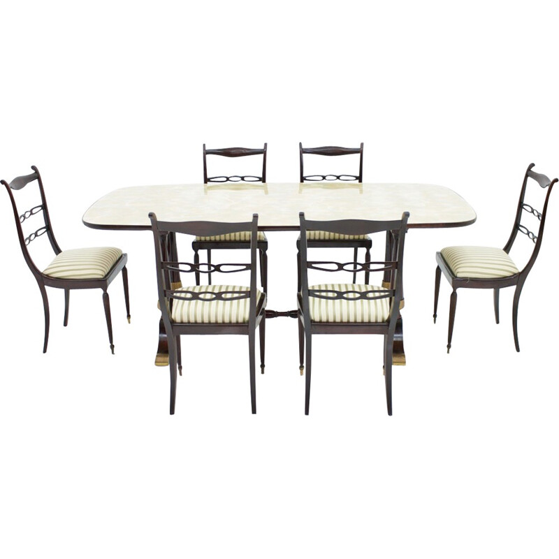 Vintage Table and Six Chairs Italian Dining Suite - 1950s
