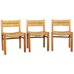 Set of 3 chairs in wood and straws, Pierre GAUTIER DELAYE - 1960s