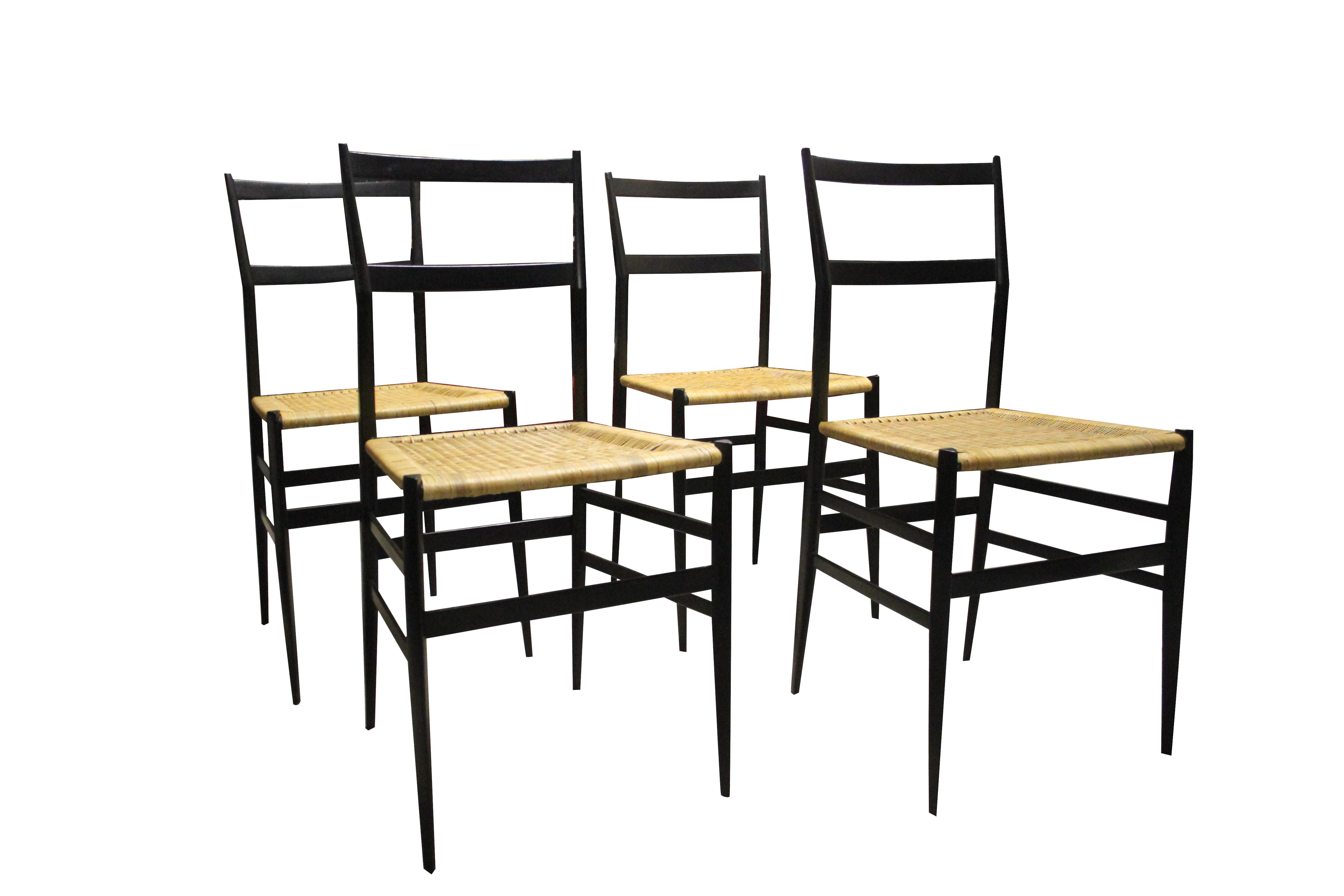 Set of 4 Supperleggera chairs Gio PONTI 1950s Design Market