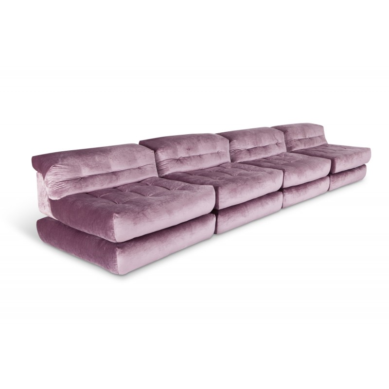 Vintage Modular Sofa In Purple Velvet By Roche Bobois