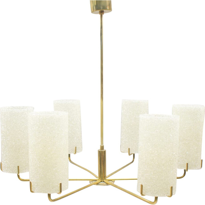 Vintage Golden Ceiling Light with 6 Shades - 1960s