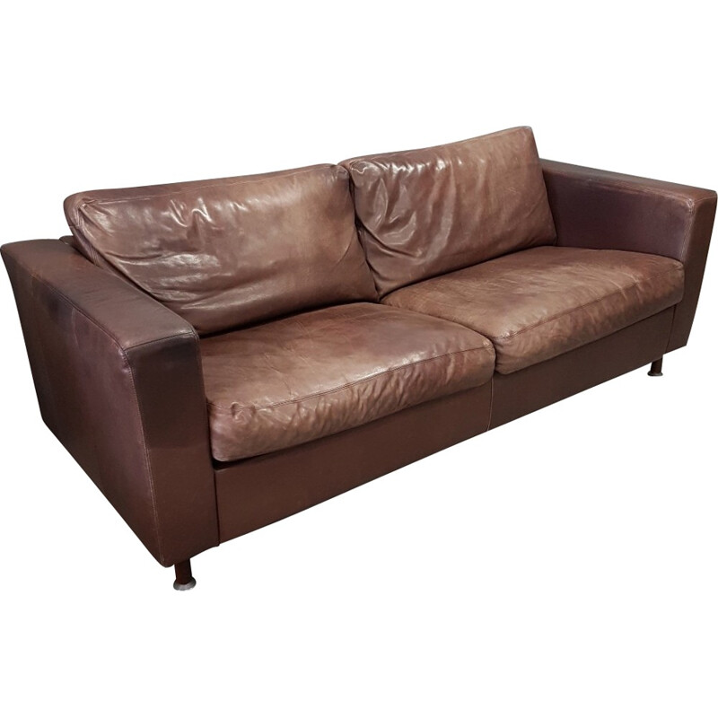 Brown thick high quality leather 3 seater sofa by Molinari - 1990s