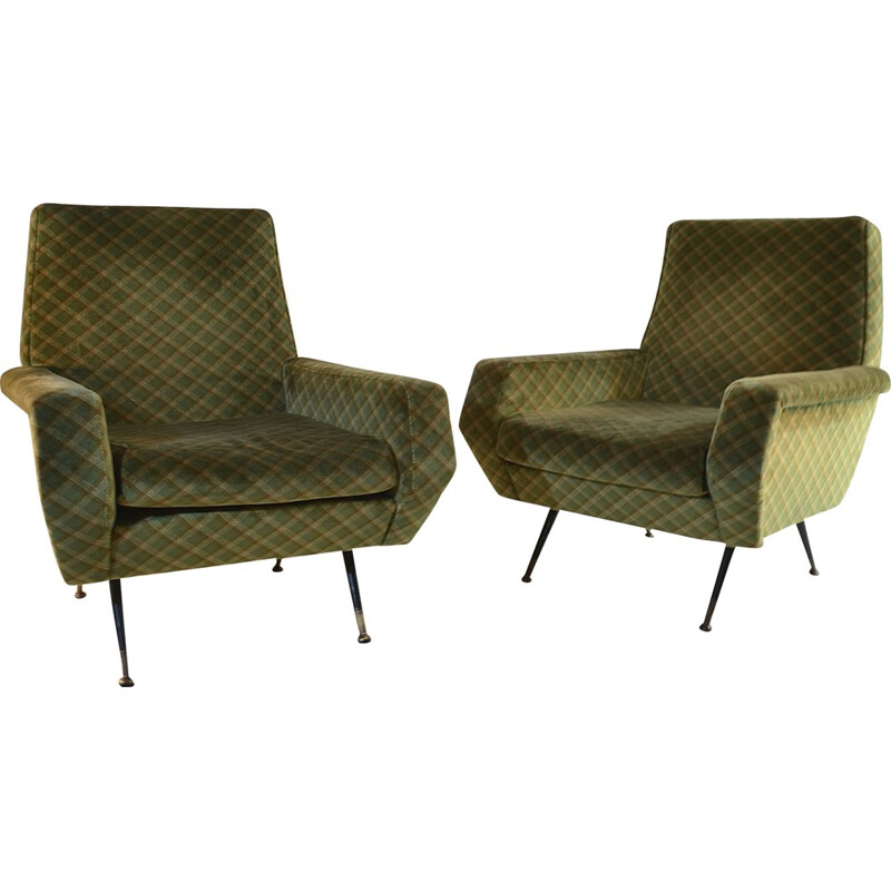 Vintage armchairs with iron and brass feet, Italy - 1950s
