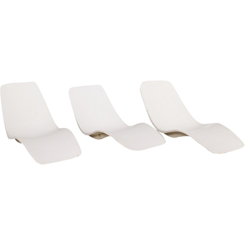Vintage set of 3 lounge chairs by Charles Zublena for Les Plastiques de Bourgogne - 1960s
