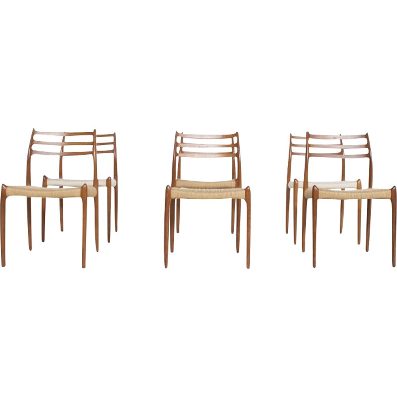 6 teak chairs model 78 by Niels Otto Moller - 1962