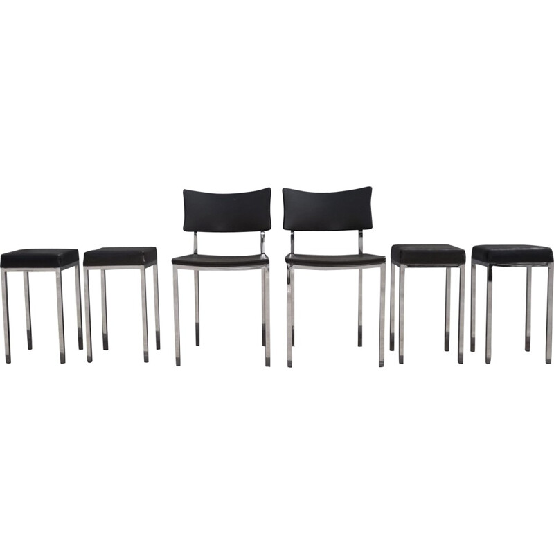 Vintage set of 2 chairs and 4 stools by Rudi Verelst for Novalux - 1960s