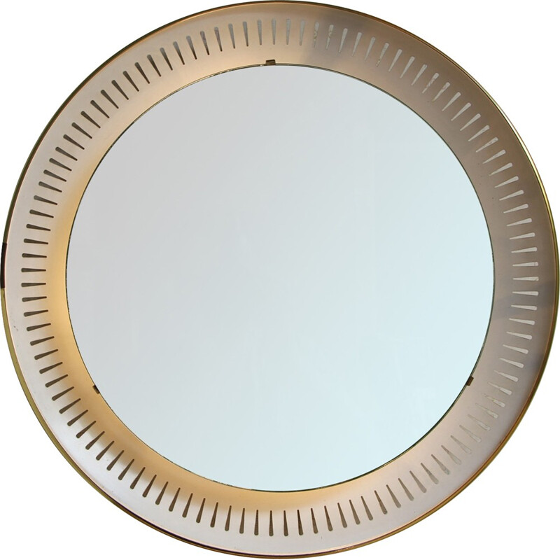 Vintage lacquered in white mirror - 1950s