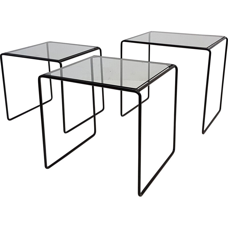Set of 3 vintage nesting tables in black metal and glass - 1970s