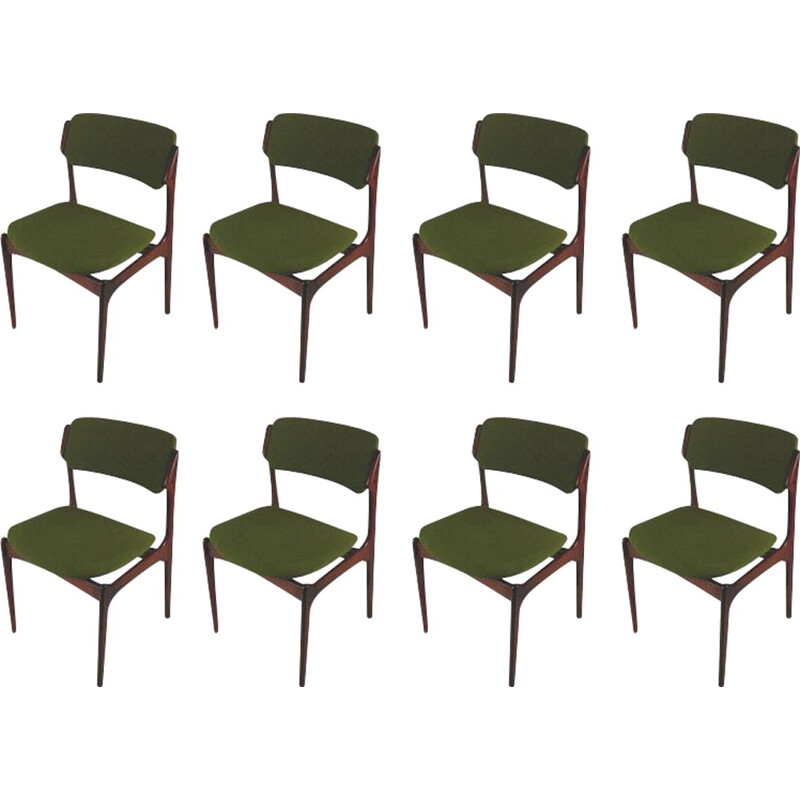 Set of 8 Model 49 chairs in rosewood by Erik Buch - 1960s