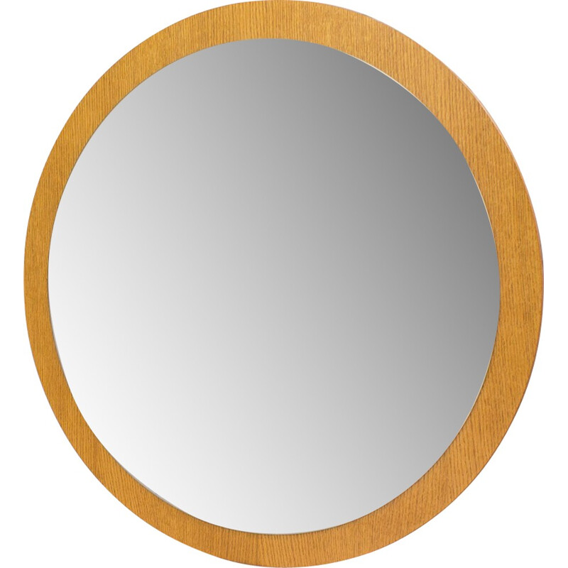 Vintage round mirror in oak and glass - 1960s
